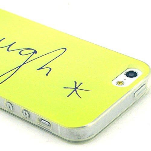 [A4E] Handyhülle passend für Apple iPhone 5 (5S, SE) aus TPU-Silikon, mit YOLO 'be free' Slogan, Vögeln und Baum (gelb, blau, schwarz, weiß) YOLO - laugh