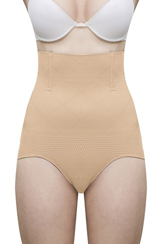 Lace And Me Women's Polyester Cotton Spandex Wire No Rolling Down Tummy Tucker Shapewear( ,Beige,Free Size)