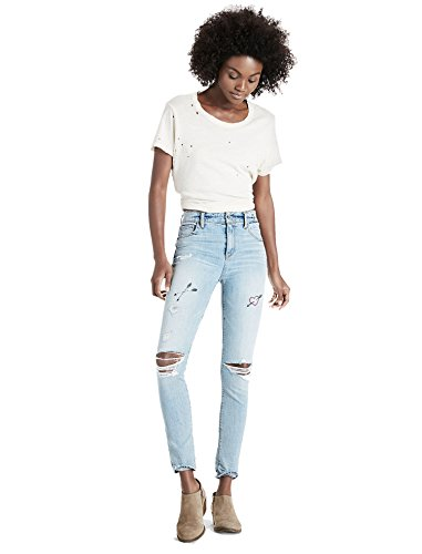 Lucky Brand Women's High Rise Bridgette Cropped Skinny Jeans Embroidered Unreal Blue Wash 32W (US 14) -