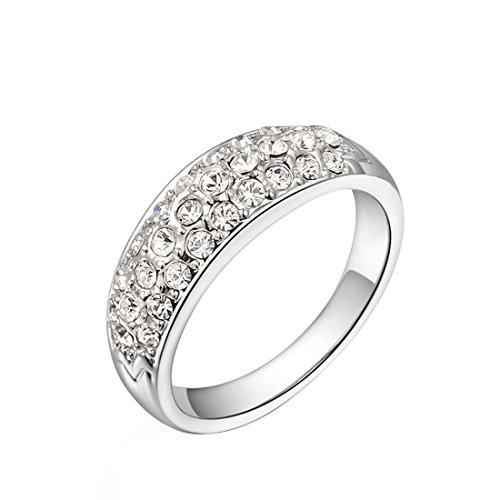 joyliveCY 2018Fashion Pretty Hochzeit Finger Ring Schmuck Frau Classic Fancy Lady 's Platinum Diamond Ring UK Größe O -