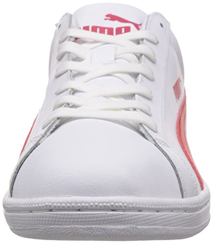 Puma Unisex-Erwachsene Smash Leather Low-Top Weiß (09 white-high risk red)