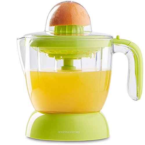 Andrew James Electric Juicer Machine - 30 Watt Citrus Juice Maker in Green - 1 Litre Capacity Jug and 2 Domes - Adjustable Filter for Smooth Juice or With Bits - Perfect for Oranges