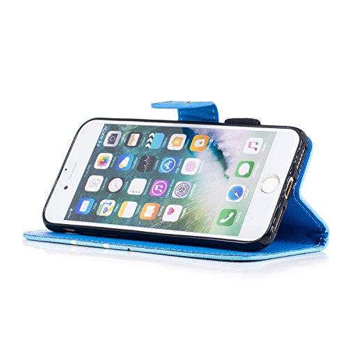 Custodia iPhone 7 / iPhone 8 Cover ,COZY HUT Flip Caso in Pelle Premium Portafoglio Custodia per iPhone 7 / iPhone 8, Retro Animali di cartone animato Modello Design Con Cinturino da Polso Magnetico S Squalo di giraffa