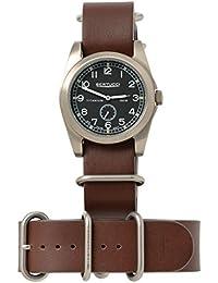Bertucci h13323Unisex titanio patrimonio Marron Piel Banda Negro Dial reloj