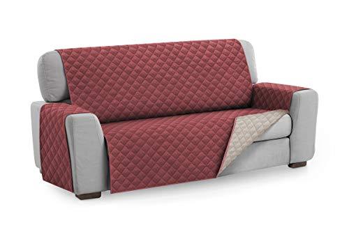 Textil-home salvadivano trapuntato copridivano malu 4 posti reversibile. colore rosso