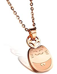 bigsoho Lovely Stainless Steel Rose Gold Plated Lucky fortune cat pendant Women/Girls Necklaces