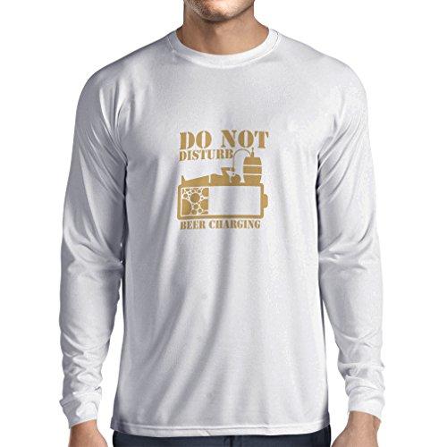 Langarm Herren t Shirts Bier Aufladung - Alkohol Hemden, Büro Kleidung, für Party (XXX-Large Weiß Gold)