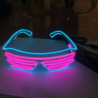 No/ël F/ête NAR LERWAY 2 Couleur EL Wire Chemion Blanc Neno Flexible Lumineux Masque LED Costume Flash Lunettes Fluo+Bo/îte de Contr/ôle Standard F/ête Decorations,Parti de Mariage