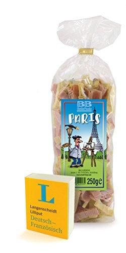 Wörterbuch Lilliput Deutsch-Französisch+ Pasta Paris bunte Nudeln in Form des Eiffelturms aus deutscher Manufaktur