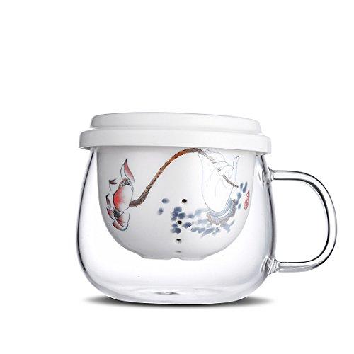 ONEDAY Un Jour 297,7 gram/300 ML en Verre Transparent Tasse à thé avec infuseur et Couvercle, Qgybl090