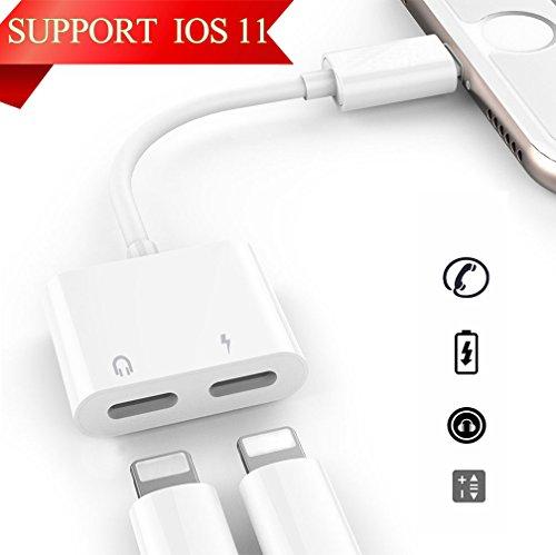 Foto de 2 en 1 adaptador de Lightning para Iphone 8/8 Plus/7/7Plus/X AUX Audio Cable adaptador, conector Lightning de carga y de Auriculares y auriculares divisor. Apoyo iOS 10.3/11