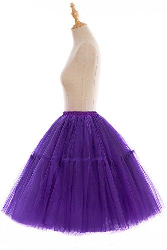 Babyonline Damen Tüllrock 5 Lage Prinzessin Falten Rock Tutu Organza Petticoat Ballettrock Unterrock Pettiskirt Dunkel Lila