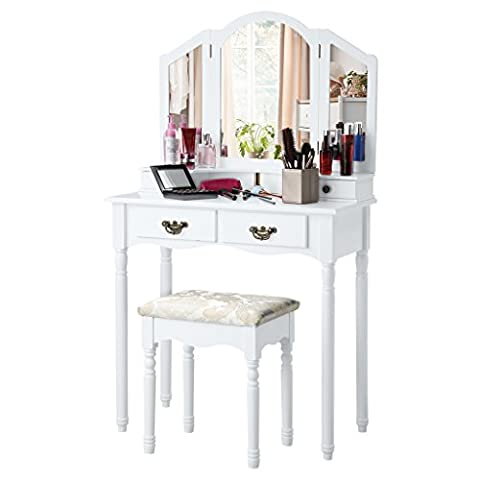 LANGRIA Coiffeuse Meuble Maquillage avec 3 Miroirs,