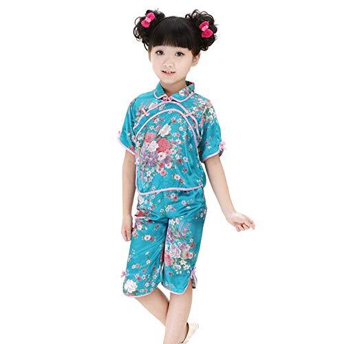 XFentech Mädchen Chinesische Tang Anzug - 2 Stück Kinder Traditioneller Tanz Tang Anzug Kostüm Top & Hose Set Performance Kleidung, Blau, Tag 12(135cm Höhe empfohlen