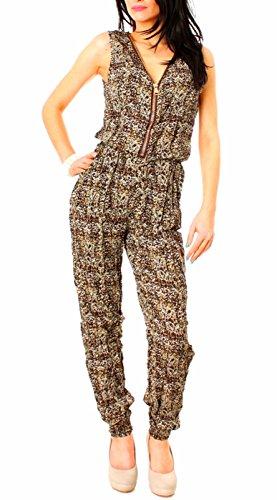 Easy Young Fashion Träger Overall lang mit Reissverschluss gemustert Dunkelbraun/Beige
