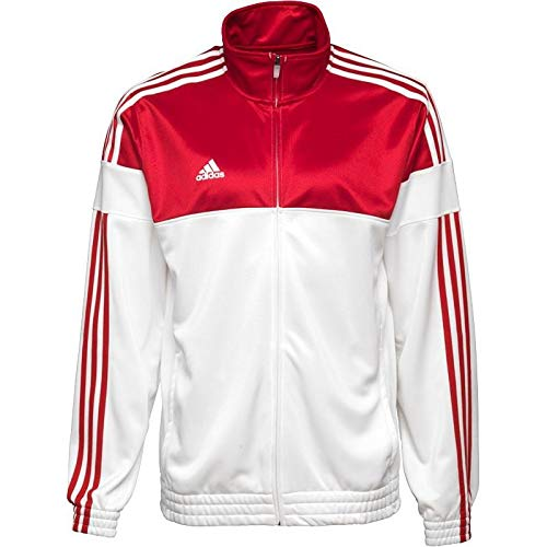 adidas Herren Retro-Jacke 3 Stripe Warm-Up Jacket Weiß Rot, S Herren Warm Up Jacke
