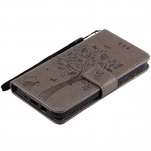 Custodia Samsung Galaxy J3 (2017) Cover, Ougger Alberi Gatto Printing Portafoglio PU Pelle Magnetico Morbido Silicone Flip Bumper Protettivo Gomma Shell Borsa Custodie con Slot per Schede (Porpora) Grigio