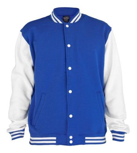 Urban Classics 2-tone College Sweatjacket TB207 Royal/White