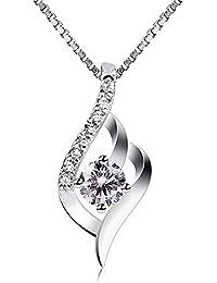 B.Catcher Femme Collier en Argent 925, Pendentif diamanté, La fête des mères, Cadeau parfait pour les fêtes, les anniversaires, Cadeau pour les femmes et les filles