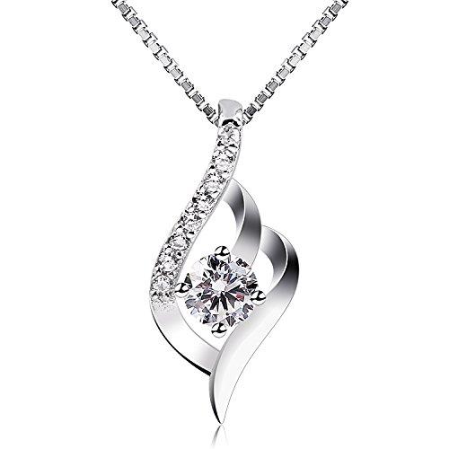 B.Catcher Femme Collier en Argent 925, Pendentif diamanté, La fête des mères, Cadeau parfait pour les fêtes, les anniversaires, Saint-Valentin Cadeau … …