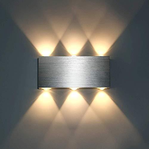 Lightess 6W LED wandleuchte innen Modern Wandlampe Up und Down Energiesparende aus Aluminium für Flur Korridor Wohnzimmer Schlafzimmer usw. Warmeiß