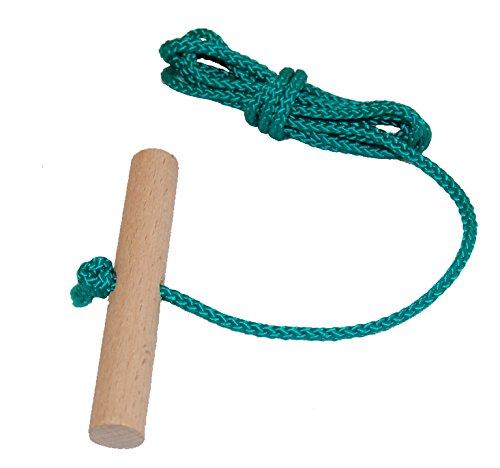 Schlittenseil Zugseil 1,50 mtr. lang mit Buchenholzgriff für Schlitten Bobs Rodel viele Farben lieferbar (grün)