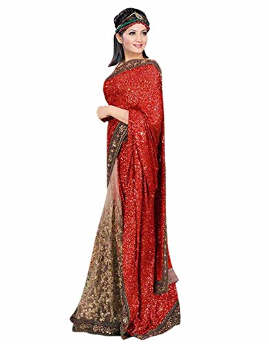 SOMYA Women's Chiffon Saree With Blouse Piece (188Dno049_Golden)