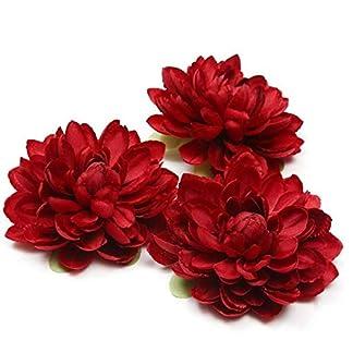 Duoduoyun Cabeza de Flor Artificial de la Dalia de Seda para la decoración del Banquete de Boda Flower Wall 3Pcs I