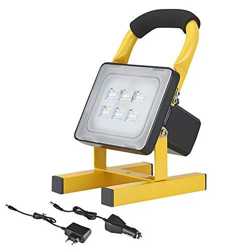 projecteur led rechargeable 10W, 12V, 1000 lumen, blanc froid, IP65 imperméable, Poratable Lampe de travail pour réparation automobile, camping, pêche, urgence (10W)