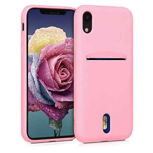 kwmobile Cover per Apple iPhone XR - in Silicone Morbido - Custodia con Scomparto Porta Carte Biglietti - Back Case Rosa Antico Matt