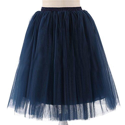 Honeystore Damen's 5 Layer Knielanger Rock Elastic Bund Tutu Prinzessin Tütü Tutu Petticoat Ballettrock One Size (Diy Kostüme Twin)