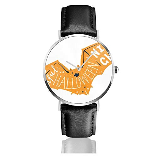 Business Analog Watches, Halloween Card with Bat Silhouette Classic Stainless Steel Quartz Waterproof Wrist Watch with Leather Strap