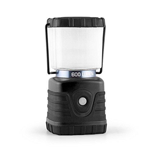 Yukatana Yorion tragbare Campinglampe Outdoor LED Leuchte u. -Laterne mit Henkel und Standfuß (3 Licht-Modi, 600 Lumen, bis 150h Akku-Betrieb, eckig) schwarz