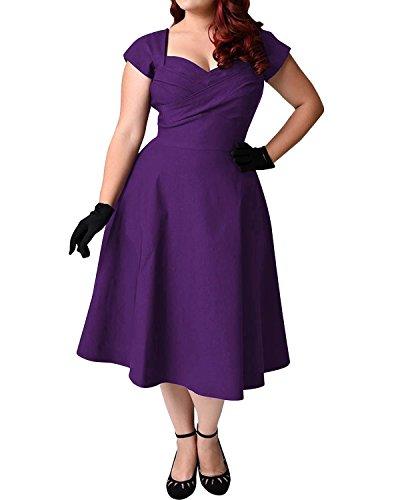 ABYOXI Damen Vintage A-Linie 50er Retro Rockabilly Kleid Knielang Abendkleid Große Größen Lila XL