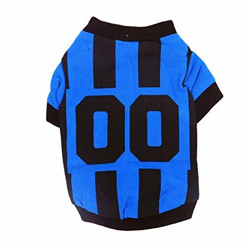 erthome Hundemantel, Haustier Hunde Sommer Weste Sport Fußball T-shirt Kleidung Kostüm Hund Trikot (L, Blau)