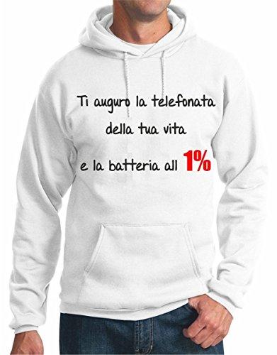 felpa con cappuccio frasi humor - ti auguro la telefonata della tua vita e la batteria all'1% - S M L XL XXL maglietta by tshirteria bianco