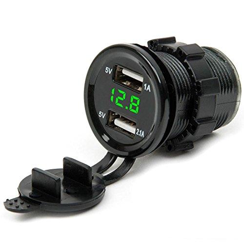 Coolster Motorrad Auto Dual USB Ladegerät Socket mit LED Voltmeter