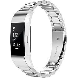 Simpeak Bracelet Compatible pour Fitbit Charge 2, Bracelet en Acier Inoxydable Compatible pour Bande de Rechange Compatible pour Fit bit Charge 2 Fitness Traceur, Argent