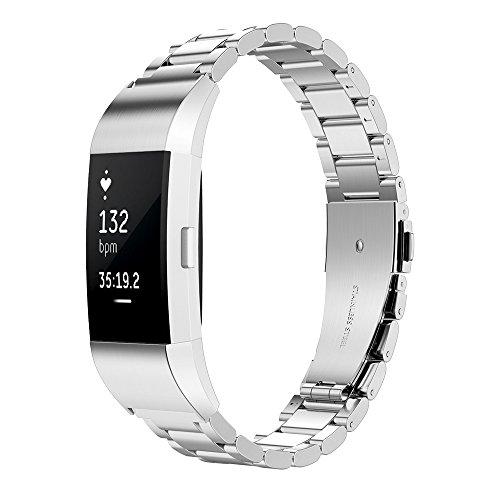 Simpeak Correa Compatible con Fitbit Charge 2 (5.5-8.1 Pulgadas), Correa de Acero Inoxidable Reemplazo Wristband Pulseras de Repuesto Bandas Compatible con Fitbit Charge 2 Fitness,Plata