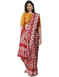 Unnati Silks Women's Batik Malmal Cotton Saree with Batik Prints and blouse piece(UNM32078+Red+Free Size)
