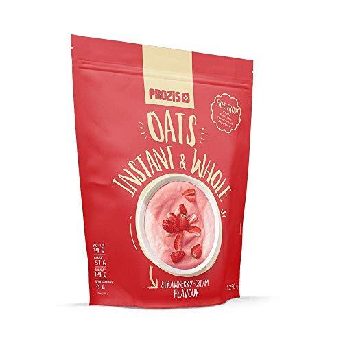 Prozis Vollkorn-Instant-Haferflockenpulver 1250g Erdbeer-Sahne - Köstlichste Instant - Vollkon Haferflocken - Vollkorn Erdbeere