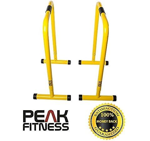 Peak Fitness Barres à dips jaunes, barres de musculation pour dips, station à dips pour tractions, barres parallèles, parallettes, parfaites pour pompes et entraînement de force