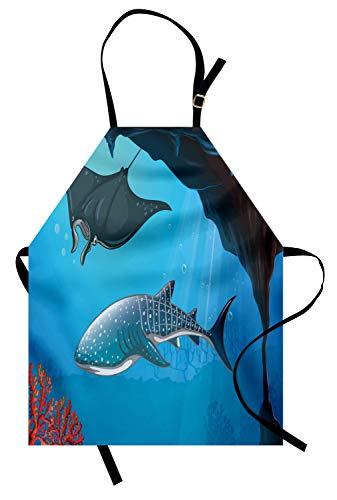ABAKUHAUS Hai Kochschürze, Shark Deep Water Stingray mit Korallenriffen Algen Rocky Cave Exotic Cartoon Style Art, Farbfest Höhenverstellbar Waschbar Klarer Digitaldruck, Blau ()