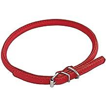 CHAPUIS SELLERIE SLA689 Collar ajustable redondo GLAMOUR para perro y gato - Cuero rojo - Diámetro 6 mm - Largo 17-20 cm - Talla XS