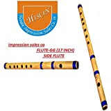 ISC Bamboo Natural Flute Bansuri GG Type Transverse Style for Deep Low Frequency Sonorous Notes 17Inch (Brown)