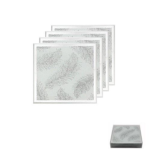 The Leonardo Collection Elegante, Glas, Silber mit Feder Muster und Untersetzer-Set aus Naturschiefer, weiß/Silber, Set of 4 Coasters -