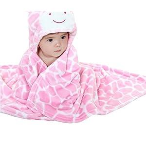 Oksakady Baby Swaddle Wrap Infant Toddler Animal Bathrobe Fleece Towel Blanket with Hooded for Bath Pool Beach Shower Gift (Pink Giraffe)(Size: One Size)