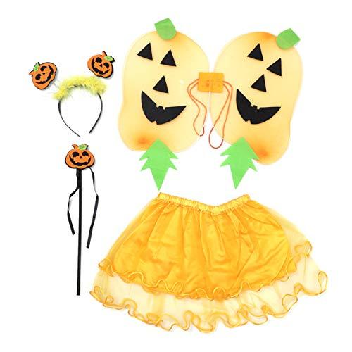 Glitzernden Kostüm - Amosfun HalloweenKürbisKostümmitglitzerndenFlügelnundfunkelndenTutuZauberstabStirnbandOutfitsfürKinder Kinder Kleinkinder
