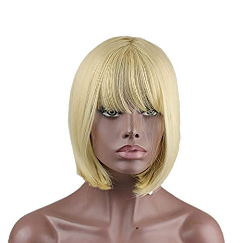 Eseewigs Fashion Blonde Heat Resistant Straight Synthetic Hair Full Fringe Bangs Short Bob Wigs For Women