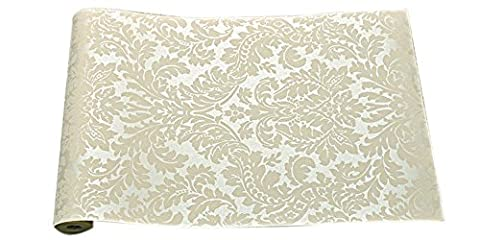 CNFIP Damaskus Muster Beflockung Salon Schlafzimmer TV Kulisse Non-Woven Tapete Multicolor 32,8 IN Lang Breite 1,74 IN,Off-white